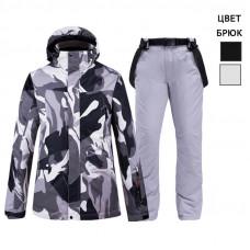 Женский горнолыжный костюм WE014 серый камуфляж